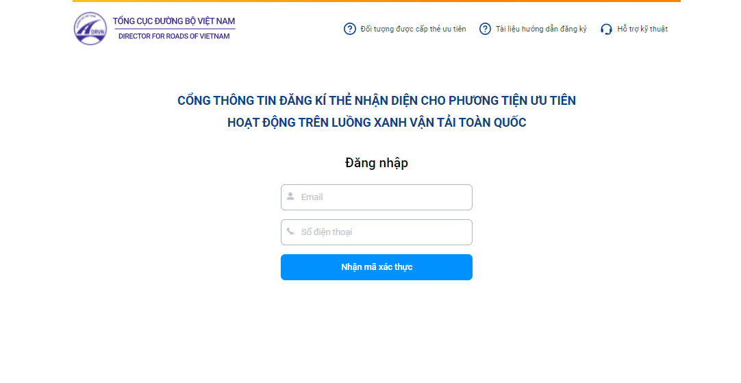 Vào website đăng ký luồng xanh chở hàng hóa thiết yếu